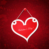 Valentines Day heart. Hanged on grungy background Royalty Free Stock Photos
