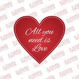 Valentines day heart All you need is love vector illustration