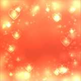 Valentines day heart background, love gold backdrop, space for text Stock Photos