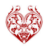 Valentines Day Heart Butterflies Foliage Scrolls Stock Photo