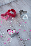 Valentines Day Heart Candy and Cookie Cutters Stock Images