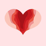 Valentines day heart for card design. Depth paper cut. Happy Valentines day Royalty Free Stock Photos