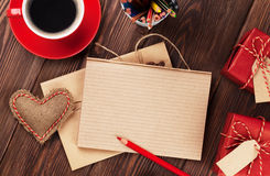 Valentines day heart, coffee, gifts and notepad Stock Photos