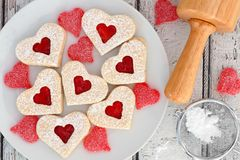 Valentines Day heart cookies with jam and candies Royalty Free Stock Photography