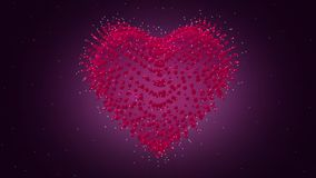 Valentines Day Heart 3D. Looped video. Heart of particles. Valentine`s day abstract background looped video, 3D Heart rotating. Heart of particles stock video