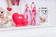 Valentines Day Heart Decorations on Mantle Stock Photography
