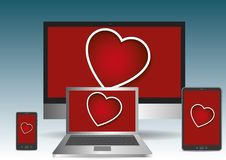 Valentines day heart displayed in personal computer laptop table Stock Photo