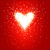 Valentines day. Heart. Heart with flashlight on red background Royalty Free Stock Image