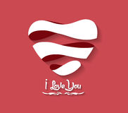 Valentines day Heart flat on Red Background Stock Photo
