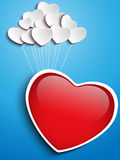 Valentines Day Heart Floating with Heart Balloons Royalty Free Stock Photo