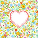 Valentines Day Heart with Flower background. Vector wedding theme Stock Images
