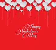 Valentines Day Heart Flowers on Red Background Stock Photography