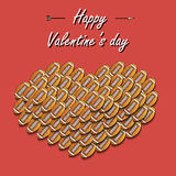 Valentines Day and Heart from football balls Royalty Free Stock Images
