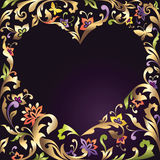 Valentines Day heart frame with floral pattern Stock Photo