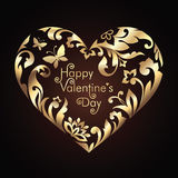 Valentines Day heart frame with golden floral pattern Stock Photography