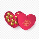 Valentines day heart gift box with chocolate candy in golden wrapper and gold calligraphy text for greeting card. Vector Happy Val. Valentines day greeting card Stock Photo