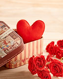 Valentines Day. Love, heart  in gift box and roses Stock Image