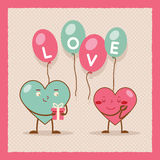 Valentines day Heart Gift Boy Girl Icon Flat Stock Images