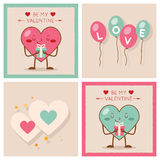 Valentines day Heart Gift Boy Girl Icons Modern Stock Image