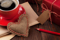 Valentines day heart, gifts and coffee Stock Photo