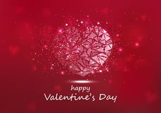 Valentines day, heart glowing polygon stars shiny glitter luxury abstract background seasonal holiday vector illustration. Valentines day, heart particles stock illustration