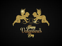 Valentines Day Heart. Gold angel Background. 10 eps Royalty Free Stock Photos