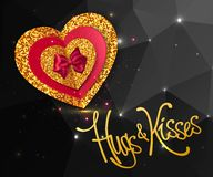 Valentines Day heart with gold glowing particles and red bow tie on black background. Hugs and Kisses gold lettering Royalty Free Stock Images
