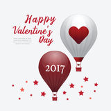 Valentines Day 2017 Heart Hot Air Balloons isolated on White Bac Stock Photos