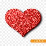 Valentines Day heart isolated, transparent vector effect background. Festive decorations bright glitter placer. Holiday love decor illustration. Beautiful Stock Images