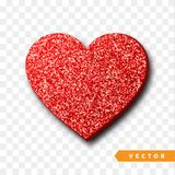 Valentines Day heart isolated, transparent vector effect background. Festive decorations bright glitter placer. Holiday love decor illustration. Beautiful Stock Photo