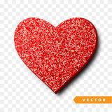 Valentines Day heart isolated, transparent vector effect background. Festive decorations bright glitter placer. Holiday love decor illustration. Beautiful Royalty Free Stock Photography