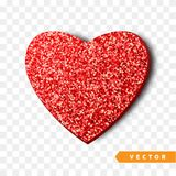 Valentines Day heart isolated, transparent vector effect background. Festive decorations bright glitter placer. Holiday love decor illustration. Beautiful Royalty Free Stock Image