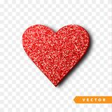 Valentines Day heart isolated, transparent vector effect background. Festive decorations bright glitter placer. Holiday love decor illustration. Beautiful Stock Photography