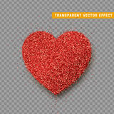 Valentines Day heart isolated, transparent vector effect background. Festive decorations bright glitter placer. Holiday love decor illustration. Beautiful Stock Photos