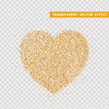 Valentines Day heart isolated, transparent vector effect background. Festive decorations bright glitter placer. Holiday love decor illustration. Beautiful Royalty Free Stock Photos