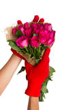 Valentines Day Heart Made of Red Roses Background with clipping Stock Photography
