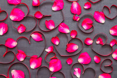 Valentines Day Heart Made of Red Roses on black Background. Royalty Free Stock Image