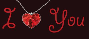 Valentines Day heart pendant red background text i love you Stock Photo