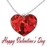 Valentines Day heart pendant on white background text Valentines day.  Stock Images