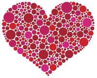 Valentines Day Heart in Pink and Red Dots Stock Photo