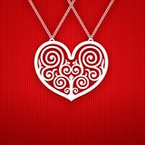 Valentines Day Heart on Red Background. Royalty Free Stock Images