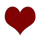 Valentines Day Heart with Red Roses Pattern Royalty Free Stock Images
