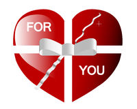 Valentines day heart with ribbon Royalty Free Stock Photo