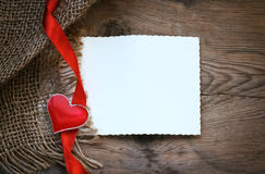 Valentines day heart and ribbon Royalty Free Stock Images