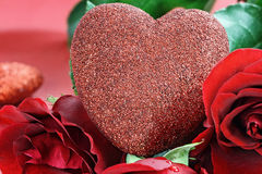 Valentines Day Heart and Roses Stock Images