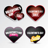 Valentines day heart sale label icon set Royalty Free Stock Photos