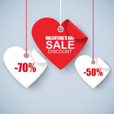 Valentines day heart sale tag, poster template vector illustration