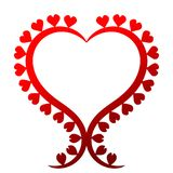 Valentines Day Heart Shape Frame. Heart shape border frame hot red color with hearts around the border. Valentines day template for a card Royalty Free Stock Image