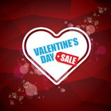 Valentines day heart shape sale label or sticker on abstract red background with blur lights. Vector sales poster or. Valentines day heart shape sale label or Royalty Free Stock Photo