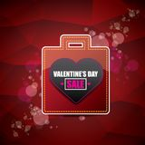 Valentines day heart shape sale label or sticker on abstract red background with blur lights. Vector sales poster or. Valentines day heart shape sale label or Royalty Free Stock Photos